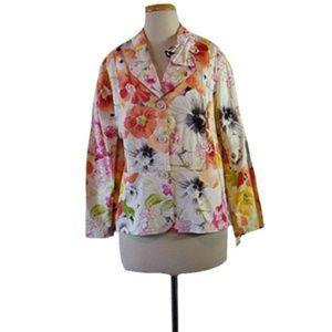 $99 Coldwater Creek White Jacket Floral Print